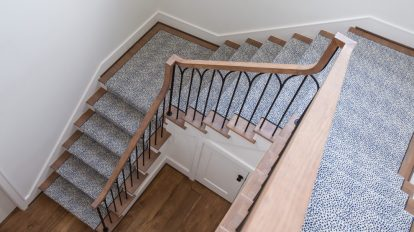 Blue Spotted Carpet On Stairs