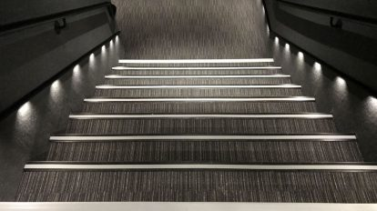 Gray Carpet Lit Stairs